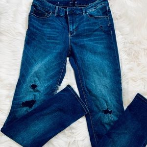 """WHBM """"The Slim"""" Distressed Jeans-Size 6"""